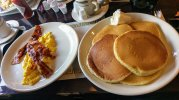 Pancakes, eggs and bacon from VIP Diner, Journal Square, NJ