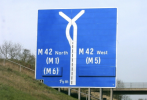 M40 to M42 'bunny ears' motorway sign