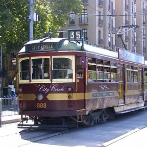 A City Circle liveried W class tram on Spring Street in Melbourne.