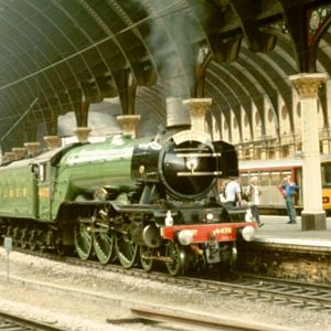 Needed a Gresley engine for my avatar.  Pity about the blinkers, but it's a half-decent shot.  Taken at York on the 'Scarborough Flyer' in Aug 2004.