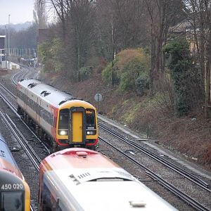 Busy Saturday Morning   South West Trains 159, 444 & 450, West Byfleet