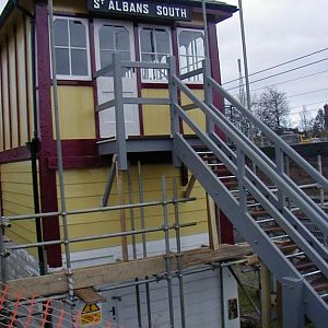 2007, December, South End, showing the completely new stairs built to original Midland Railway specifications. External painting continues.