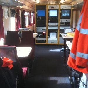 Interior of 999600, the recording coach on 950001 (pre refurb). Racks ahead contain the Track Geometry Computer, Real Time Positioning System manageme