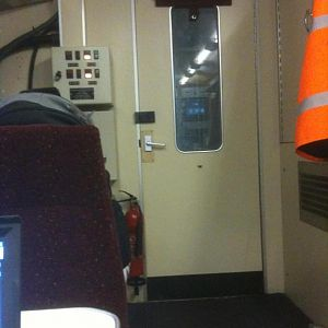 The view towards the driving cab on 999600, the recording vehicle of 950001