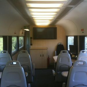 Presentation area on the New Measurement Train - one of the seldom used corporate facilities in the rake.