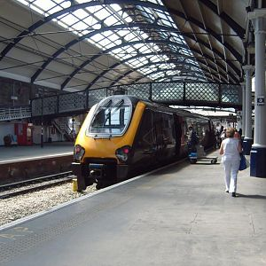 A CrossCountry Voyager pauses at Newcastle.