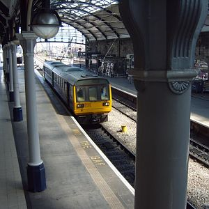 A Northern Class 142 leaves for the Tyne Valley.
