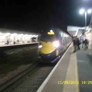 A blurry photo of Class 395-231 with the 19:25 SE High Speed service to St Pancreas INT via Canterbury West