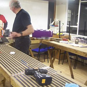 Members of Bouville Model Railway Club have now put most of the N Gauge track on all the boards and we soon be stating on the shed