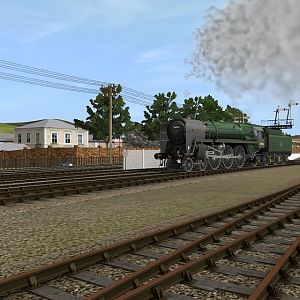 Tornado moves into the sidings.