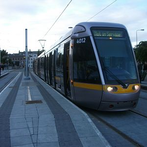 #12: LUAS tram 4012 stands out of service at Heuston.
