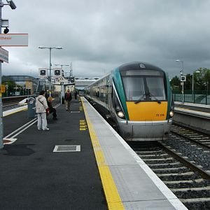 #8: IE unit 22219 stands at Hazelhatch and Celbridge, a short distance west of Dublin. Hazelhatch and Celbridge is one of IE's plethora of new station