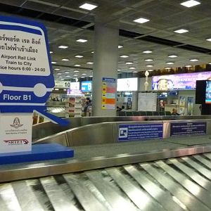 Bangkok Airport Rail Link advertised in the airport baggage reclaim area
