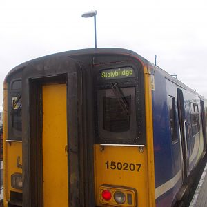 150207 at Stalybridge. This train was the 10:13 Denton Flyer from Stockport