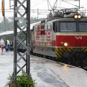 Finnish Sr1 locomotive express train during the rainiest summer (2012) in 10 years