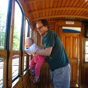 Me and my kid in a narrow gauge car at Mariefred Sweden.