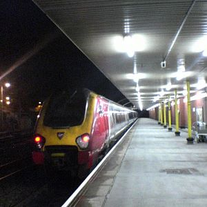 Voyager at Holyhead at night