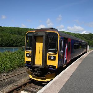 153307 at Looe Station, waits to form a midday service to Liskeard 5th June 2014