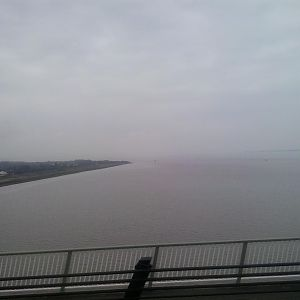 The Humber as seen from the Humber Flyer towards Humberside airport on the Humber Bridge.