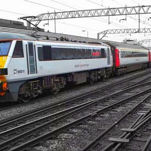 90011 & a full AbellioGreaterAnglia livery IC set departs for Norwich at Colchester