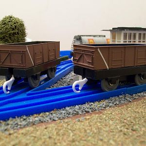 Re-painted Hornby 21 ton mineral wagons.