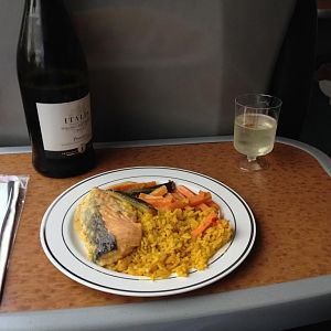 Dinner onboard XC Voyager, Supreme of Salmon.