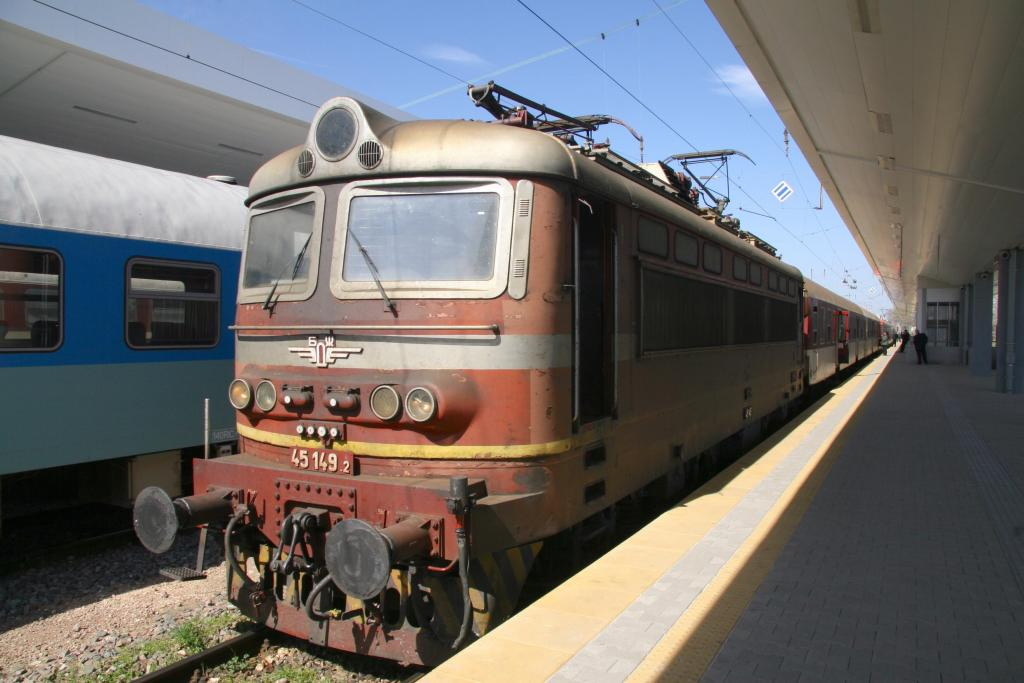 BDZ Skoda 25kv Electric Locomotive awaits departure at Sofia Central with the 11:15 two coach stopping service to Koprivshtitsa, 15th April 2015.