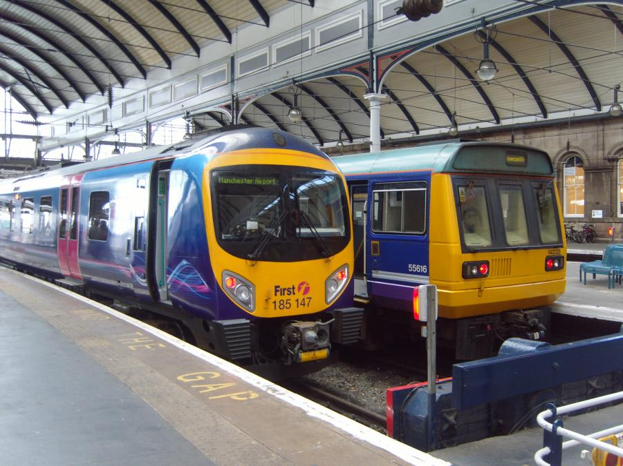 DMUs in the bay platforms at Newcastle.