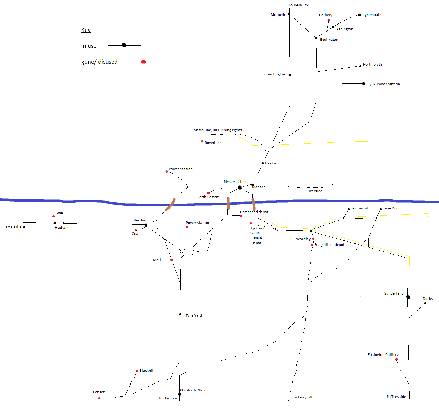 I'm trying to piece together a map of what has changed rail-wise on Tyneside since the 70's/80's. If anyone could point out mistakes I would be really