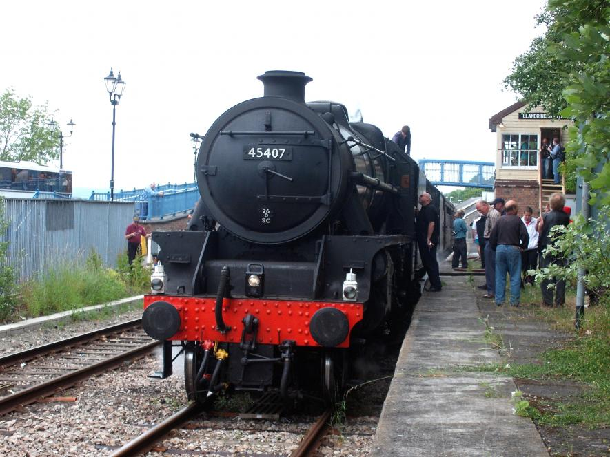 LMS Black 5s No. 45407 and 44871 in Llandrindod Wells station with the The Central Wales Explorer on the 3rd July 2010.